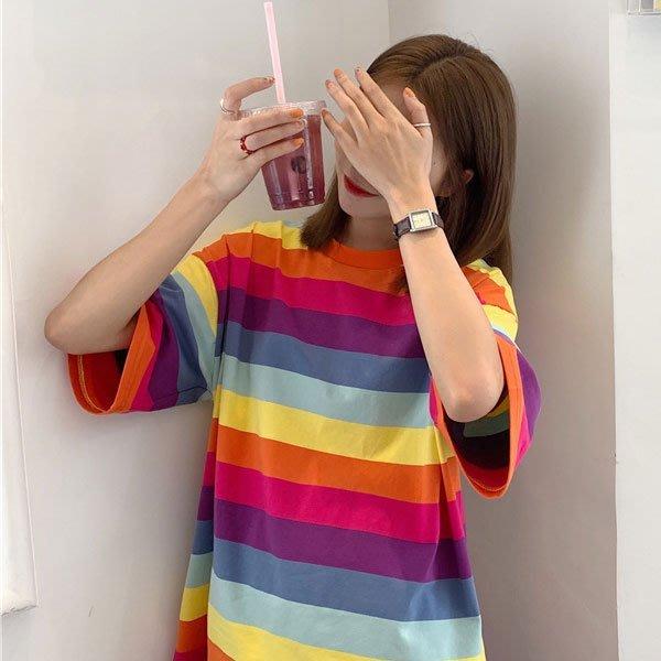 短袖T恤◎ 女人心語 ◎ 青春洋溢 彩虹女孩 短袖圓領T恤 (預) RALI-N-BC-T-K