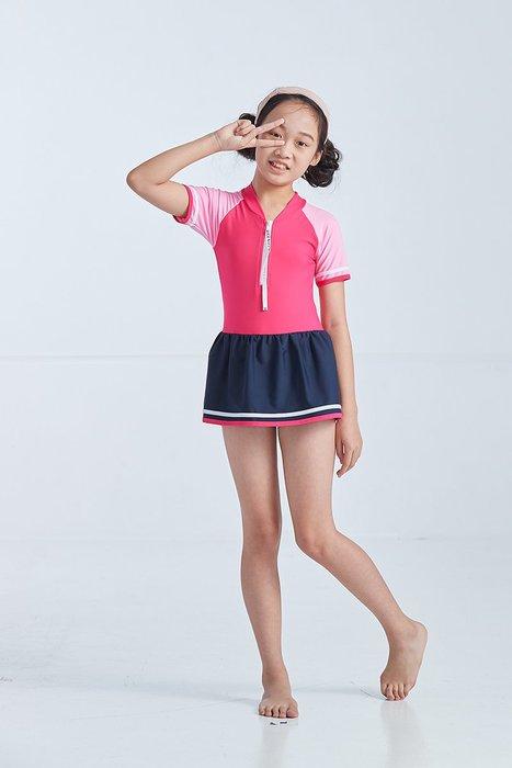 【  APPLE   】蘋果牌泳裝降價↘特賣~女童桃粉配色有袖拉鍊連身裙泳衣 附泳帽   NO.019606