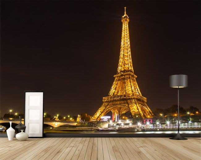 客製化壁貼 店面保障 編號F-508 巴黎鐵塔夜景 壁紙 牆貼 牆紙 壁畫 星瑞 shing ruei