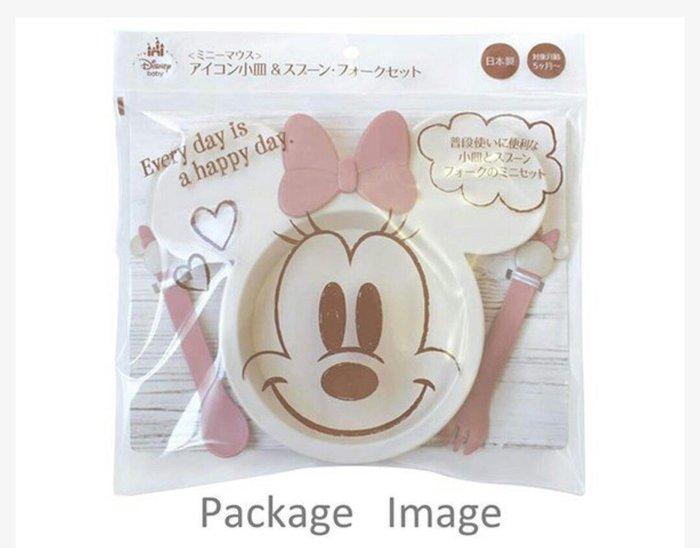 天使熊雜貨小舖~日本迪士尼米妮兒童造型塑膠餐具組  日本製  全新現貨