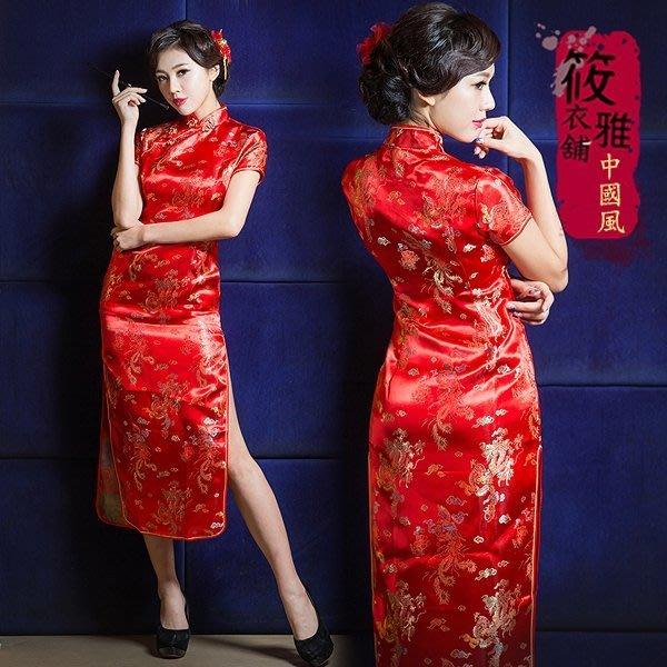 經典紅上海風華麗復古緹花緞短袖長旗袍 大尺碼 筱雅衣舖【BA261】