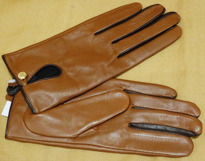 大降價!全新 Michael Kors MK 經典復古設計皮革色咖啡色皮革手套,低價起標無底價!本商品免運費!