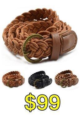 Buy Me 《加購價》百搭必備單品 手工編織細皮帶 腰帶 麻繩皮帶  (三色) $99 (目前都是銀扣)