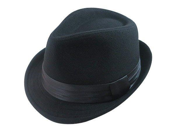 表演團體限定/經典時尚風格☆ 優質造型紳士帽/黑色三折帶爵士帽/禮帽男式英倫紳士帽子-黑/藍