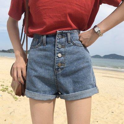夏季新款韓版百搭高腰闊腿褲時尚寬松顯瘦卷邊牛仔短褲女