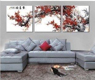 【優上精品】報春圖國畫梅花壁畫現代客廳無框畫三聯畫沙發背景墻裝飾畫(Z-P3218)