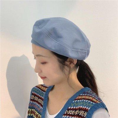 貝雷帽女日系夏季薄款氣質純色八角帽防曬透氣復古新款畫家帽百搭