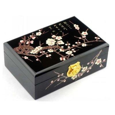 5Cgo【鴿樓】會員有優惠  40044482274 平遙漆器首飾盒 推光漆器複古梳妝化妝盒 木質田園複古收納盒飾品盒