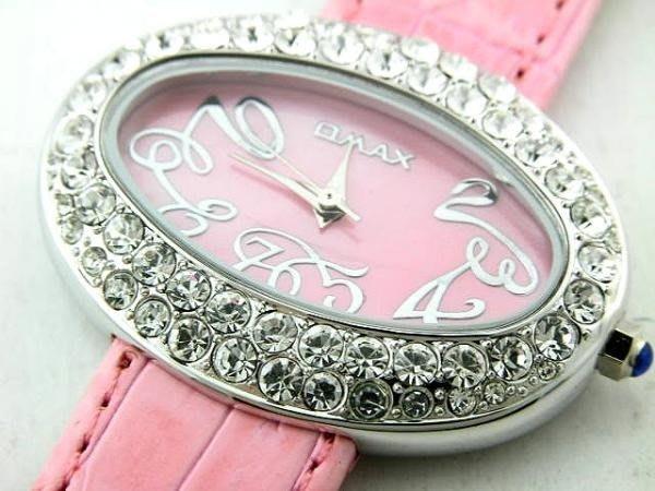 @(六四三鐘錶精品店)@歐美仕(真品)豪華珠寶錶.(日本機芯).(特殊橢圓型)(粉紅珍珠母