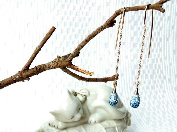 星空藍晶鑽水晶 小水滴垂墬耳環˙Jill&Joe 原創手作工藝 ˙優雅迷人設計