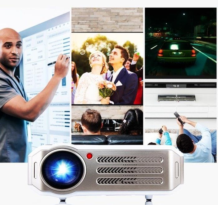 迷你投影儀 Rigal投影儀家庭影院用高清投影機wifi無線智慧辦公手機無屏電視 JD