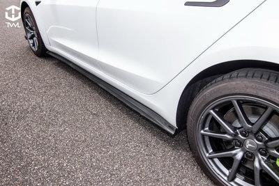《※台灣之光※》TESLA 特斯拉 Model 3 SR LR Performance 真空碳纖維 卡夢 側裙定風翼