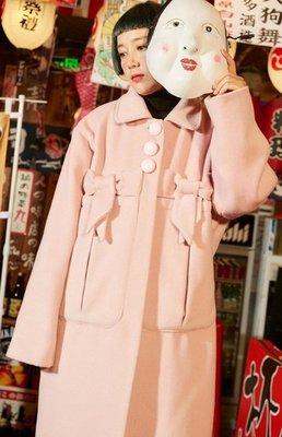 【黑店】原創設計 訂製款粉色甜美長版毛呢大衣 復古圓釦大口袋毛呢大衣 少女心長版粉色毛呢外套 YR124