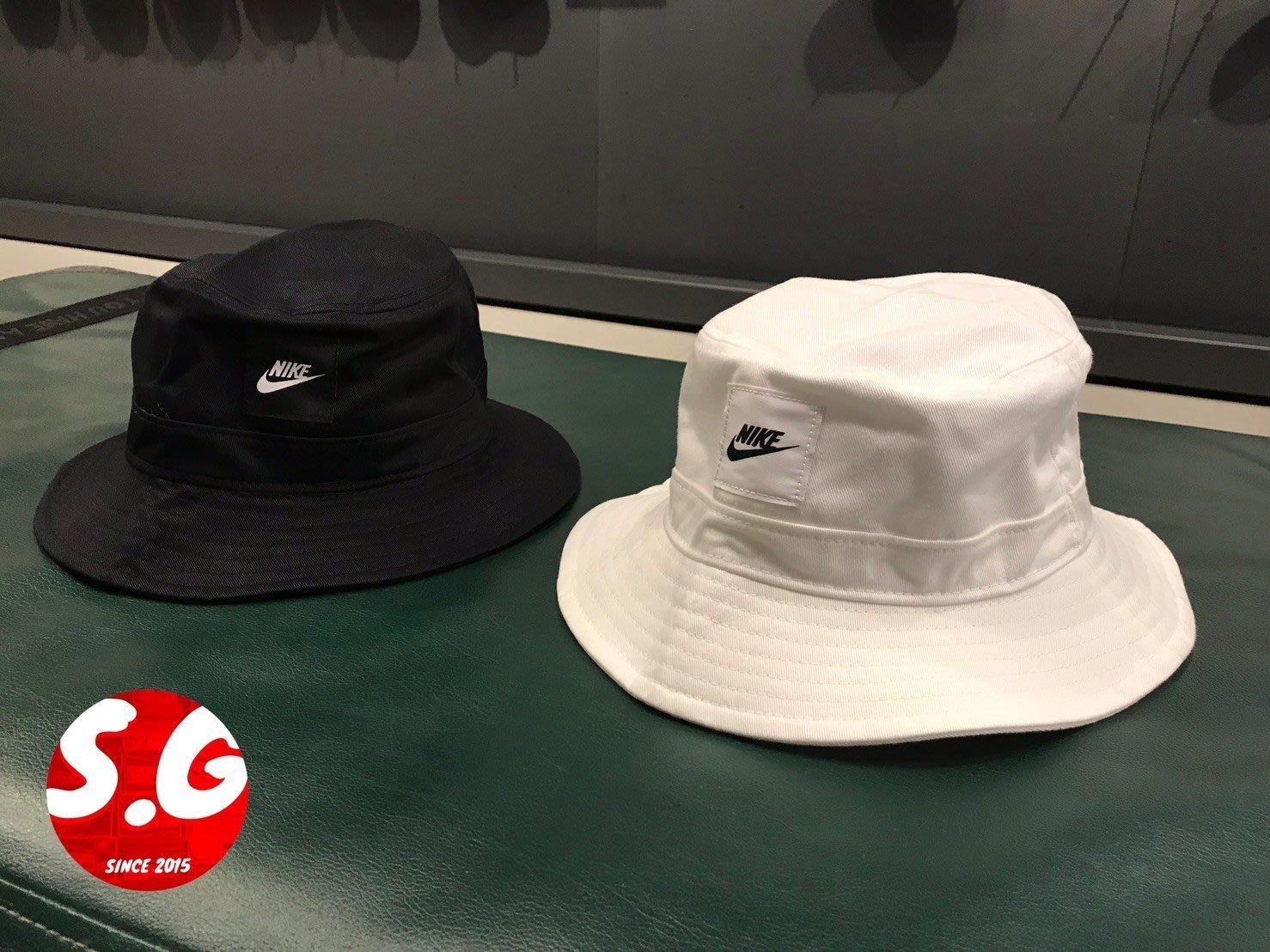 S.G NIKE NSW BUCKET 帆布 帽子 穿搭 休閒 遮陽帽 漁夫帽 男女 黑CK5324-010 白 100