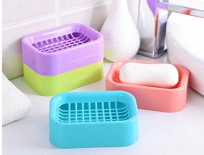 新670巷:雙層瀝水設計格子造型香皂盒肥皂盒衛浴用品 百貨用品【格子肥皂盒-藍色系下標區】