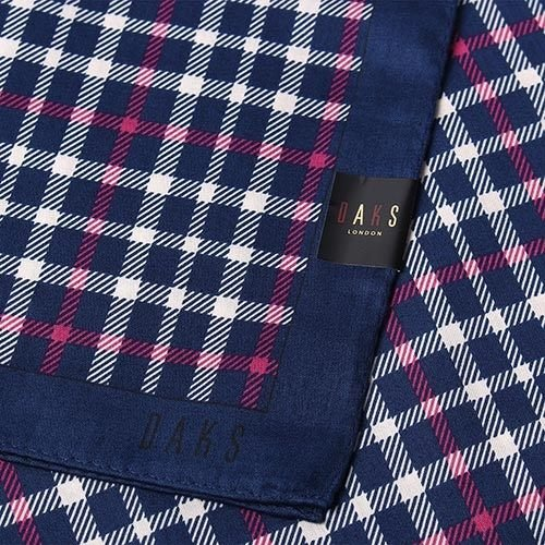 【姊只賣真貨】DAKS經典撞色格紋100%純棉男用帕巾領巾手帕(海軍藍/藍邊)父親節88節禮物