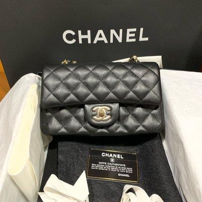 全新天菜 Chanel coco 20 荔枝皮 金鏈 保卡24經典款 格紋 黑色 mini 20