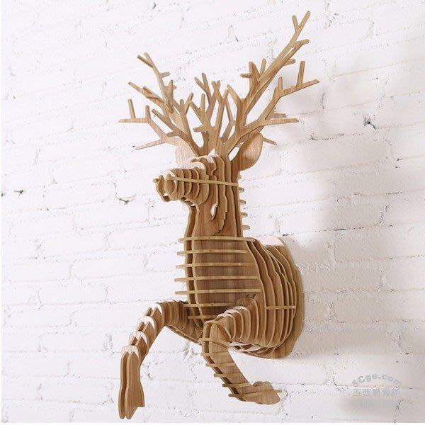 5Cgo【宅神】含稅524072135048 壁掛木質動物頭牆飾北歐設計風格壁飾牆面裝飾梅花鹿角服裝店牆上裝飾品鹿半身