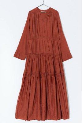 日本購回 ne Quittez pas  COTTON SOLID GATHER LONG DRESS