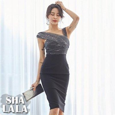 SHA LA LA 莎菈菈 韓版時尚名媛氣質斜肩吊帶性感顯瘦包臀連衣裙洋裝3色(S~XL)2019050202預購款