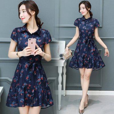 FINDSENSE G5 韓國時尚 碎花 連身裙 寬鬆 大碼 顯瘦 短袖 雪紡裙 打底襯衫