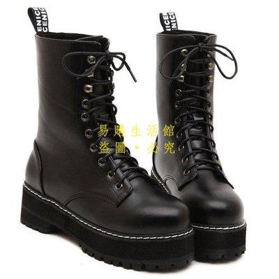 [王哥廠家直销]歐美新款中筒靴子厚底高跟靴子 防水臺系帶靴子 馬丁靴子-黑3539LeGou_1654_1654