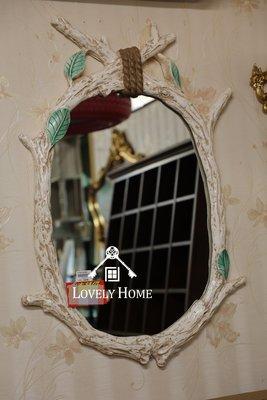 (台中 可愛小舖)歐式古典鄉村風格-米白色立體樹葉橢圓掛鏡實品質感好壁鏡裝飾送禮店面裝飾化妝鏡臥室鏡民宿客房主臥室皆可用