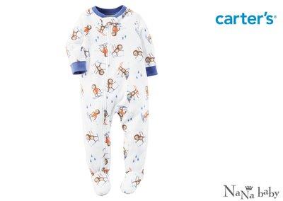 ♡NaNa Baby♡ 美國Carter's 長袖保暖刷毛連身睡衣- 小猴子溜冰系列 #327G117