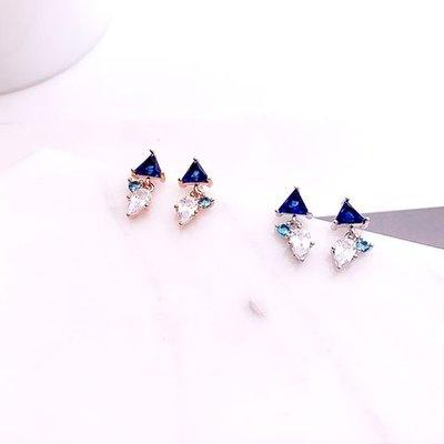 韓國❤️精緻 水鑽 藍寶 垂耳 耳環 / 夾式 耳環【Verina's韓系美飾】