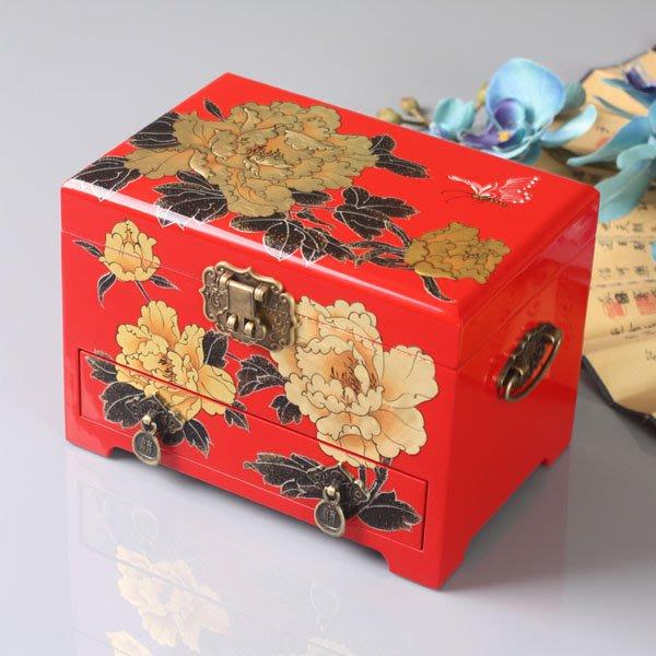 5Cgo【鴿樓】會員有優惠  531852592395 複古首飾盒帶鎖木質結婚首飾裝飾盒飾品盒 古典彩繪漆器珠寶盒櫃