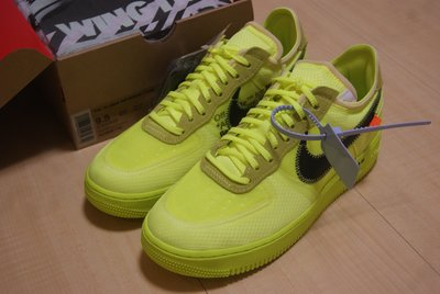 OFF-WHITE THE 10:NIKE AIR FORCE 1 LOW VOLT聯名螢光綠色束帶AO4606-700