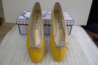 French Sole Simple leather ballet flats Color: Yellow   38 號 現貨