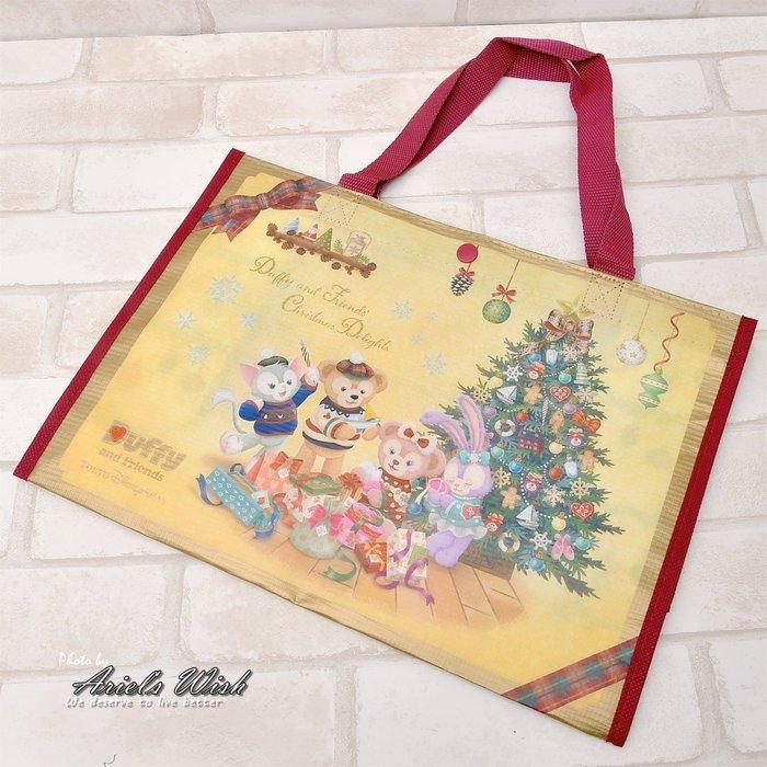 Ariel Wish日本東京迪士尼聖誕節達菲熊Duffy雪莉玫傑拉東尼史黛拉兔兔防潑水鈕扣手提袋便當袋購物袋-絕版現貨1