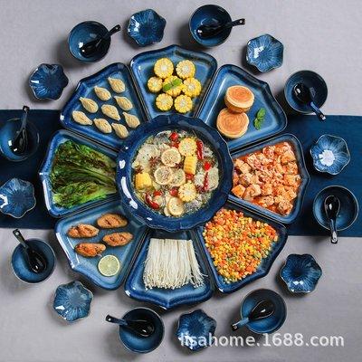 有一間店-中式家庭年夜飯餐具套裝 陶瓷家用簡約窯變拼盤套組 酒店飯碗菜盤(規格不同 價格不同)
