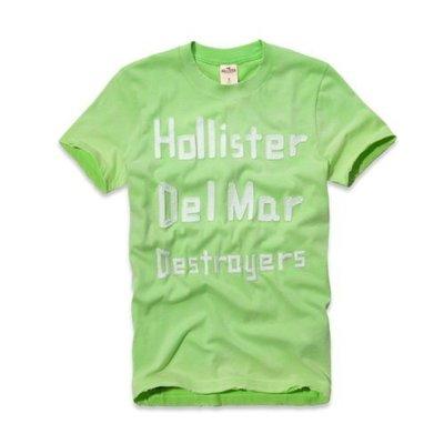 Maple麋鹿小舖 Hollister Co * HCO  綠色貼布電繡字母短T * ( 現貨M/L號 )