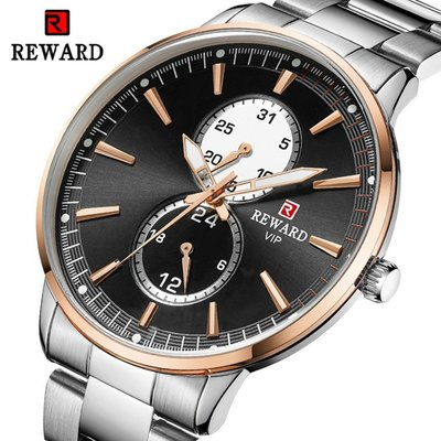 【潮裡潮氣】REWARD男士歐美商務腕石英錶多功能時尚男錶精鋼蝴蝶扣男錶