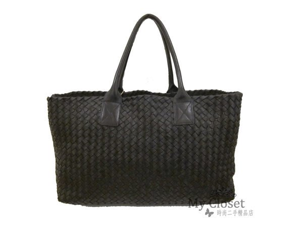 My Closet 二手名牌 BV BOTTEGA VENETA 黑色中型CABAS手提購物包 限量500個