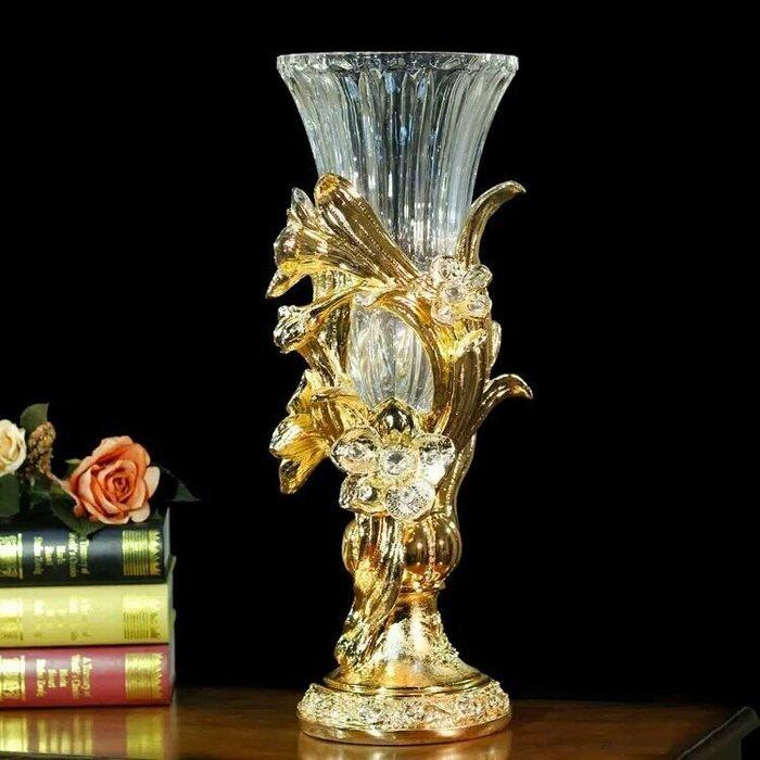粉紅玫瑰精品屋~大號歐式透明水晶玻璃花瓶奢華花瓶擺件~