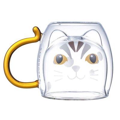 現貨㊣星巴克 品質精選石虎把手雙層玻璃杯(300ml)造型杯 另售黑熊石虎水鹿生態共愛馬克杯 台灣 starbucks