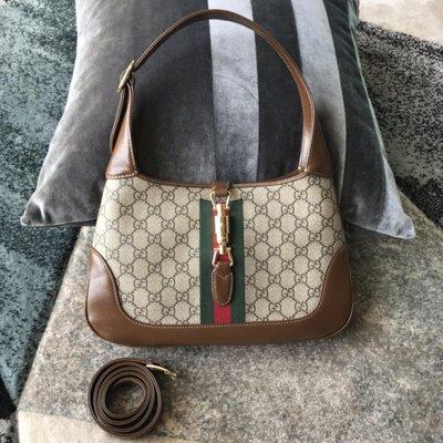 全新Gucci 紅綠織帶雙G圖案咖啡色賈姬包