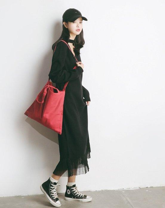 秋新品韓版不規則下擺魚尾針織套頭長洋裝 寬鬆慵懶拼接蕾絲 2件免運!