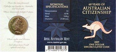 老董先生公民權利60周年 原裝卡冊 澳大利亞2009年1元 紀念幣 黃銅硬幣