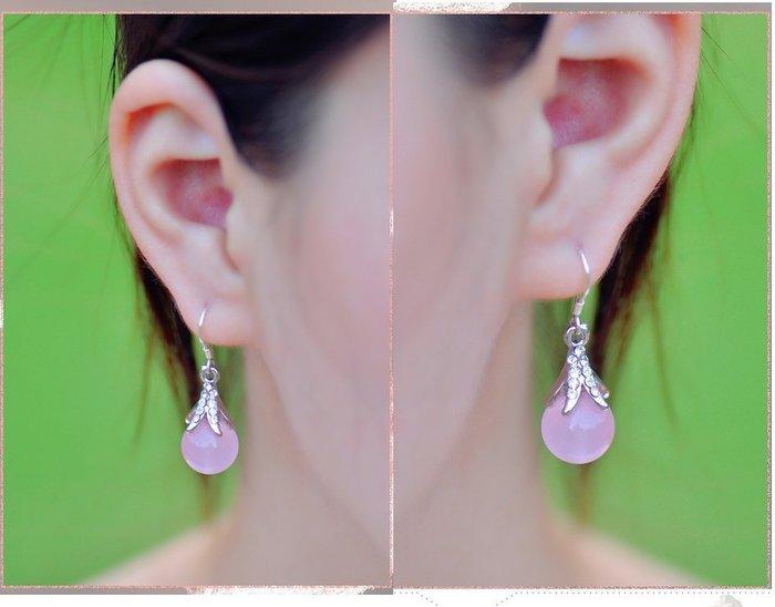 福福百貨~S925純銀女耳環防過敏韓版百搭飾品粉晶長耳墜氣質可愛玉髓耳飾