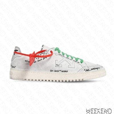 【WEEKEND】 OFF WHITE Low 2.0 塗鴉 仿舊 低筒 皮革 休閒鞋 白色 20春夏
