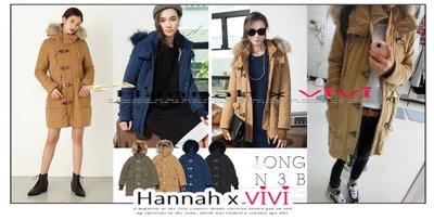 HannahxVIVI 全新 SLY最新2015年度定番超高人氣襲捲N3B羊羔絨豐厚貂子毛領修身中長款加厚夾棉大衣外套