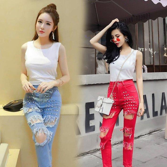 青木居家新款韓版時尚短款背心T恤個性破洞牛仔長褲俏皮套裝女兩件套