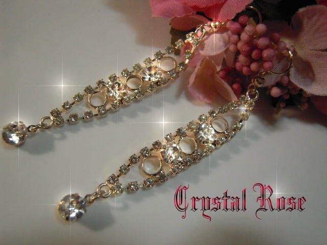 ※水晶玫瑰※ 水晶鑽 耳勾式耳環(DD393)