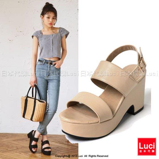 高跟涼鞋 二字帶厚底楔型高跟鞋 俏麗甜美  好搭配 厚底涼鞋  LUCI日本代購 [zr78ye]