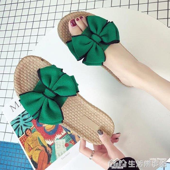 2019新款夏季拖鞋外出網紅一字拖女時尚沙灘鞋蝴蝶結海邊外穿涼拖SHLS1789