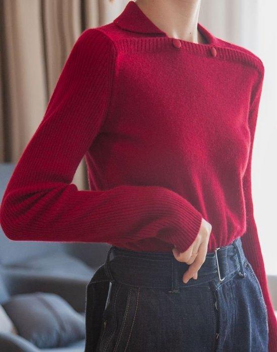 時尚方領羊毛混紡加厚針織上衣 1143
